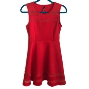 LULUS sheer determination red mini dress S